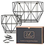 Scandinavian Hub Wire Basket Wall Mount - Farmhouse Fruit Basket Set (of 2) for Using as Hanging Fruit Basket Basket, Wall Planter, Wall Organizing Unit or Wire Baskets for Pantry