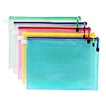 C-Pioneer Plastic Zip Up A4 Size Paper Document Art File Bag (Set of 4)
