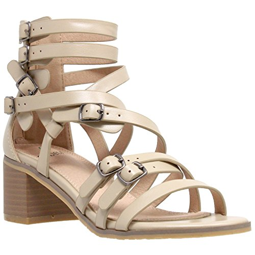 Womens Dress Sandals Strappy Buckle Accent Block Low Heel Gladiators Taupe SZ - Buckle Womens Accent