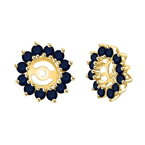 KATARINA Sapphire Floral Earring Jackets in 14K Yellow Gold (1 3/8 cttw)