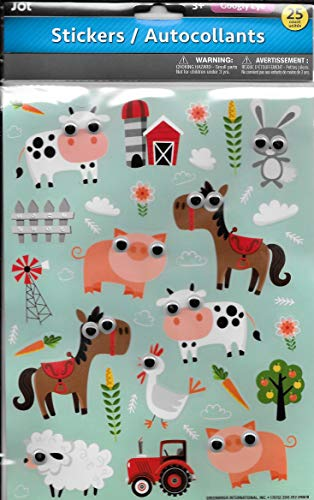 JOT Farm Animals Googly Eyed Stickers (25 Count) Plastic Eyed Cow, Pig, Horse, Chicken & More]()