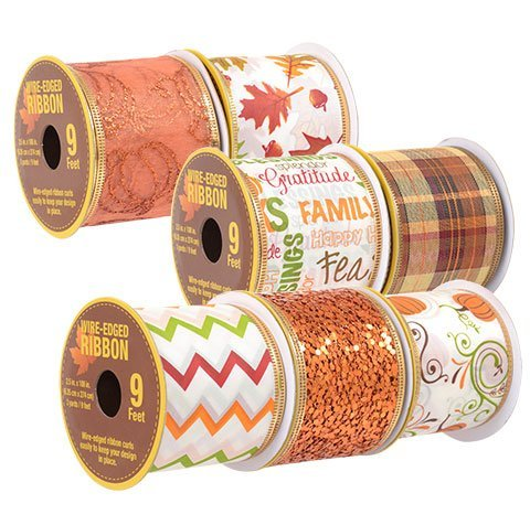 Decorative Autumn Harvest Fall Wire-Edged Ribbon, 3-yd. Spools, 7-ct Set (Making Bow For Wreath With Wired Ribbon)