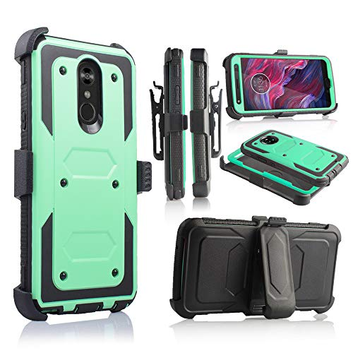 Compatible for LG Stylo 4 Phone Case, [Full Body Defender Protection] [Kick-Stand] Full-Body Heavy Duty Case with [Built-in-Screen Protector] [Belt Clip Holster] (Teal)