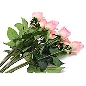 FiveSeasonStuff 10 Stems of Real Touch Silk Roses 'Petals Feel and Look like Fresh Roses' Artificial Flower Bouquet for Wedding Bridal Office Party Home Decor (Dark Pink) 5