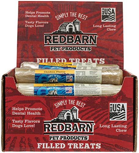 Filled Rolled Rawhide Dog Treat - REDBARN Chicken Filled Rolled Rawhide Dog Chew, 24 Count