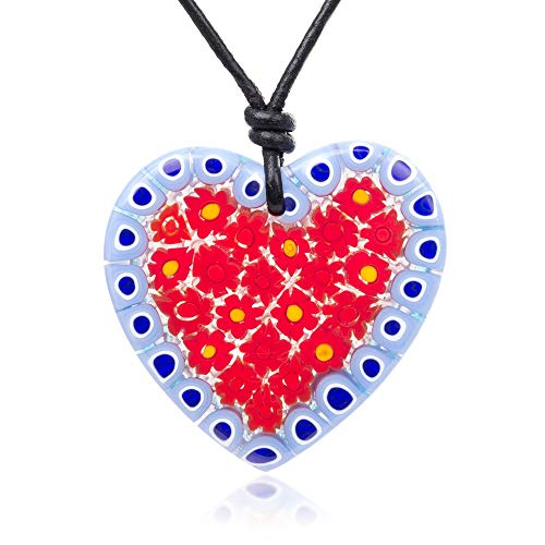 "(Chuvora Millefiori Murano Glass Red & Blue Flowers Heart Big Pendant 43 mm Adjustable Necklace 15""-30""\\n)"