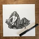 KillerBeeMoto: Original Pen Sketch of Vintage Style Mermaid (Limited Prints Also Available)