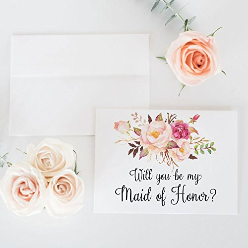 8 Handmade Cards Stationery (Will You Be My Bridesmaid Card, Wedding Party Proposal Card Choose Maid of Honor, Flower Girl, Wedding Attendant (set of 4 - 8), WYB-17BHB)