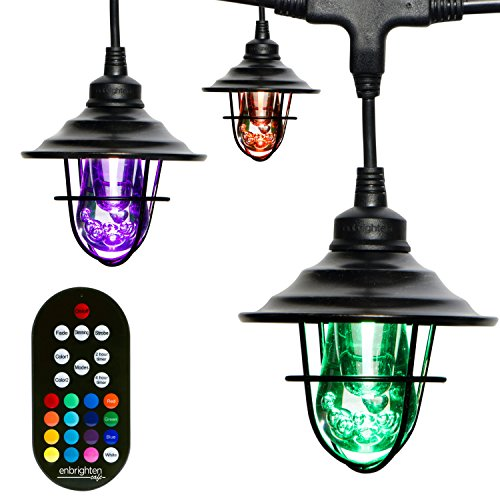 Enbrighten Seasons LED Warm White & Color Changing Café String Lights with Oil-Rubbed Bronze Lens Shade, Black, 48ft, 24 Impact Resistant Lifetime Bulbs, Wireless, Weatherproof, Indoor/Outdoor, 43385