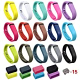 i-smile® 15PCS Replacement Bands with Metal Clasps for Fitbit Flex / Wireless Activity Bracelet Sport Wristband / Fitbit Flex Bracelet Sport Arm Band (No tracker, Replacement Bands Only) & 2PCS Silicon Fastener Ring For Free (Set of 15, Large)