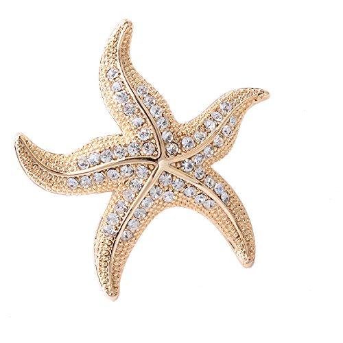 OBONNIE Women's Austrian Crystal Starfish Pearl Brooch Pin Breastpin Pendant -
