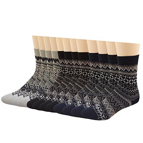 Mens Crew Socks Design Colors Cotton Casual Retro National Socks 6Pack