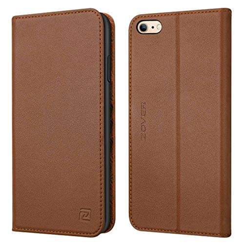 Zover iPhone 6S Plus Case iPhone 6 Plus case Genuine Leather Case Wallet Cover with Kickstand Feature Card Slots & ID Holder and Magnetic Closure for iPhone 6 Plus iPhone 6S Plus Brown