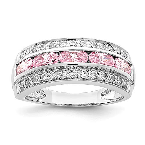 (925 Sterling Silver 3 Row Pink White Cubic Zirconia Cz Band Ring Size 6.00 Fine Jewelry Gifts For Women For Her)