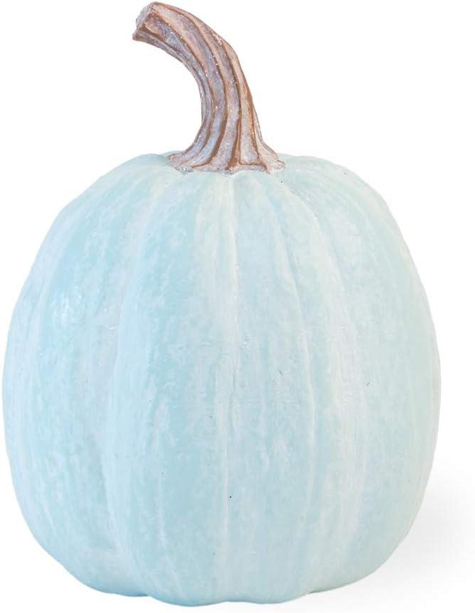 Boston International Decorative Glass Pumpkin Figurine, 4.5 x 6.25-Inches, Light Blue