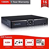 CANAVIS 16ch 1080N Hybrid 5-in-1 AHD DVR (1080P NVR+1080N AHD+960H Analog +TVI+CVI), 16 channel DVR BNC/HDMI/VGA output Quick QR Code Scan Remote view motion detection &email alert,No Hard Disk