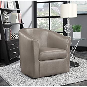 coaster faux leather upholstered swivel accent chair in champagne