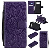 Galaxy Note 8 Wallet Case,A-slim(TM) Sun Pattern Embossed PU Leather Magnetic Flip Cover Card Holders & Hand Strap Wallet Purse Case for Samsung Galaxy Note 8 - Purple