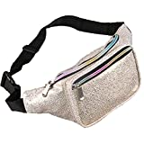 Leather Fanny Pack for Women - Galaxy Glitter Waist Pack with Holographic Colors (Galaxy Gold)