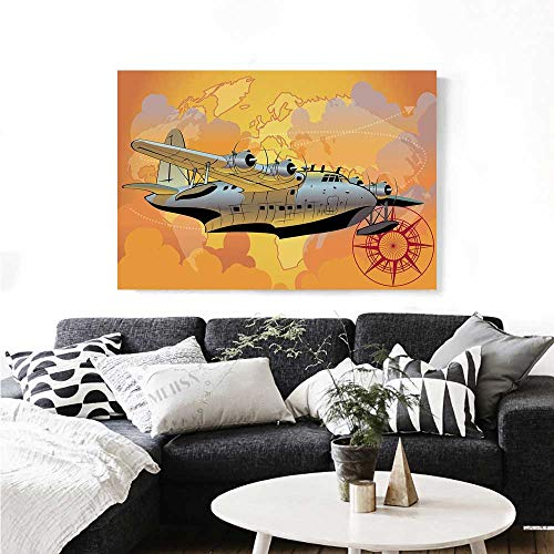 (Vintage Airplane Decor Wall Paintings Retro Seaplane in Sky World Map Compass Adventure Travel Journey Print On Canvas for Wall Decor 20