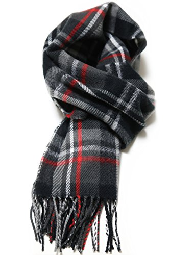 Luxuriouse Soft Wool Touch Tassel Ends Scarf (ONE SIZE, Black&Red)