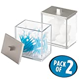 Bathroom Vanity Accessory Sets mDesign Bathroom Vanity Canister for Cotton Balls, Swabs, Cosmetic Pads - Pack of 2, Clear/Brushed