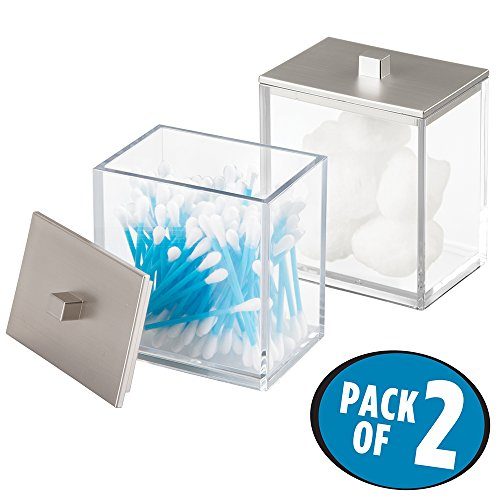mDesign Bathroom Vanity Canister for Cotton Balls, Swabs, Cosmetic Pads - Pack of 2, Clear/Brushed