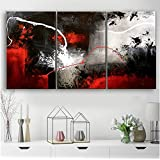 Orlco Art hand painted Original abstract art paintings Black White gray Red painting On Canvas wall art Home Decoration