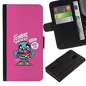 LASTONE PHONE CASE / Lujo Billetera de Cuero Caso del tirón Titular de la tarjeta Flip Carcasa Funda para Samsung Galaxy S5 Mini, SM-G800, NOT S5 REGULAR! / purple zombie cute drawing app game