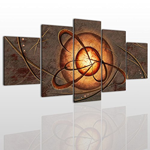 - Abstract Canvas Wall Art Painting Modern Design Picture For Home Office Decor - 5 Pieces Brown Framed On Wooden Frame Image Pictures Photo Artwork Decoration Ready To Hang