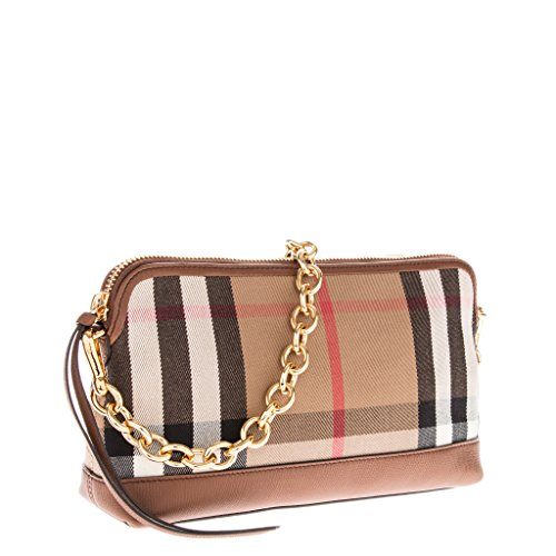 4e720366cae Burberry Women's House Check Derby Leather Small Abingdon Clutch Bag Tan