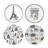 Gien Ca c'est Paris set of 4 bread & butter Canape Plates ASSORTED 6 1/2 IN