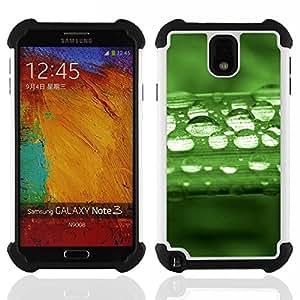 - Green Water Drop Leaf 1/ H??brido 3in1 Deluxe Impreso duro Soft Alto Impacto caja de la armadura Defender - SHIMIN CAO - For Samsung Galaxy Note3 N9000 N9008V N9009