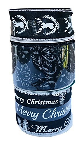 Merry Christmas Greetings Reindeer Cameo and Chic Black Velvety Design Bundle of Three Christmas Themed Ribbons