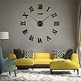 3D DIY Wall Clock, Timelike 1M Modern Frameless Large 3D DIY Wall Clock Kit Decoration Home for Living Room Bedroom (Black-Black)