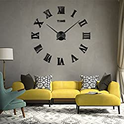 3D DIY Wall Clock, Timelike 1M Modern Frameless Large 3D DIY Wall Clock Kit Decoration Home for Living Room Bedroom (Black-Black)