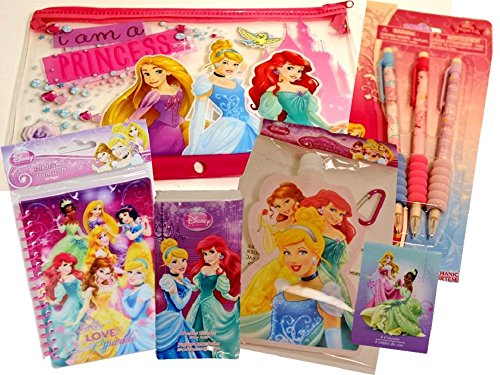 Disney Princess School Set (6 Items) - Pencil Case, 3 Pack of Mechanical Pencils, Travel-size Tissue, 8 Pack Crayons, Water Bottle, Notepad (Tissue Crayons)