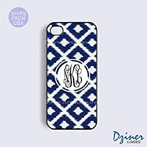Monogrammed iPhone 4 4s Case - Navy Blue Ikat Diamond Pattern iPhone Cover