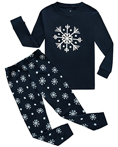 Girls Christmas Pajamas Snow Toddler Kids Pjs 100% Cotton Children Sleepwear Shirts Size (Girls Size 12 Christmas Pajamas)