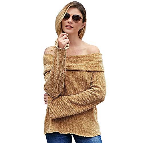 Casual Maglione Pullover Khaki A Donna Sciolto Lavorato Da Maglia xBXRXFq