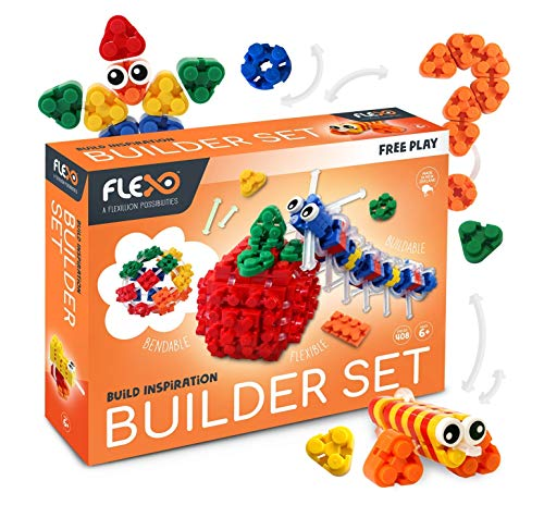 Flexo 3D Building Brick Set - Free Play Builder Set Toys for Boys and Girls Creative Learning Fun Blocks Compatible with All Major Brands 408 Pieces in 5 Vibrant Colors