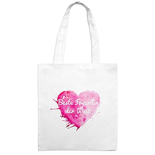 Jutebeutel mit Namen Beste Freundin der Welt Motiv Painted Heart
