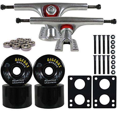 Bigfoot Longboard Skateboard Trucks Raw Paris 180 Combo Set 76mm Crushers Wheels, Bearings, and Hardware Package (76mm Black Wheels) 15 Wheel Combo