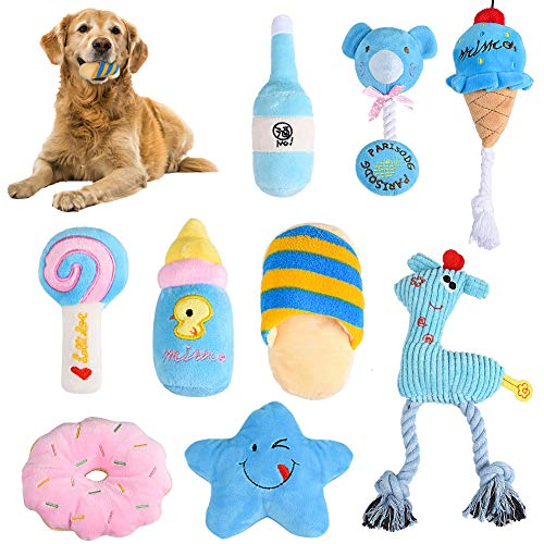 Puppy Squeaky Plush Dog Toys Set Dog Squeaky Toys Cute Plush Toys Chew Toys for Small Medium Dog 9 Pack ()