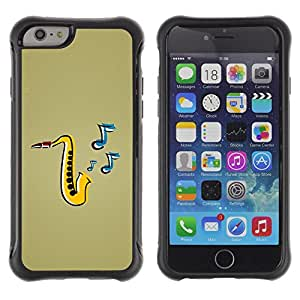 All-Round híbrido Heavy Duty de goma duro caso cubierta protectora Accesorio Generación-II BY RAYDREAMMM - Apple iPhone 6 - Jazz Music Saxophone Instrument Art Painting