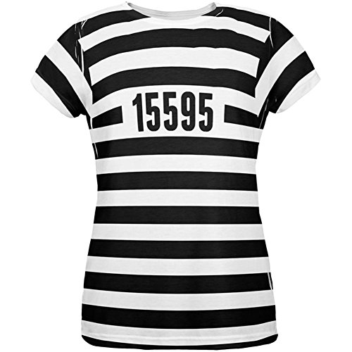 Halloween Prisoner Old Time Striped Costume All Over Womens T Shirt Multi LG