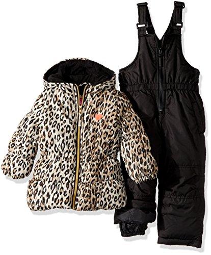 Pink Platinum Baby Girls' Cheetah Printed Snowsuit, Black, 12M -