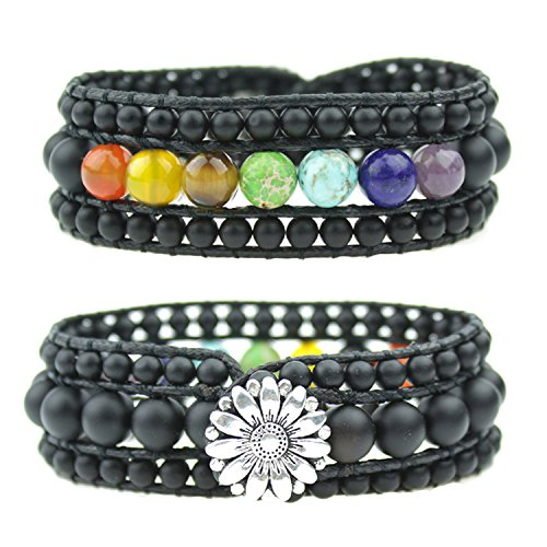 (IUNIQUEEN Unisex 7 Chakra Healing Rainbow Real Stone Bead Energy 3 Row Wide Wrap Bracelet Collection)