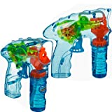 2 x Led Light Up Bubble Gun With Free Solution Shooter Outdoor Summer Fun Kids.