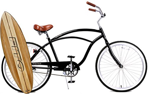 Fito Anti Rust Light Weight Aluminum Alloy Frame, Marina Alloy 1-Speed for Men - Black/Brown, 26